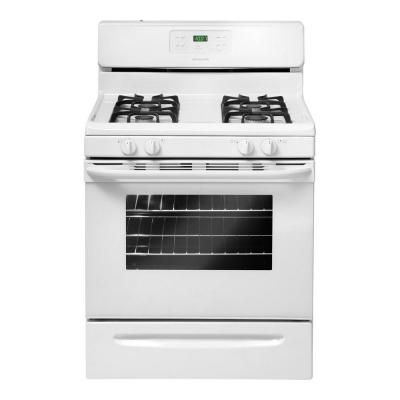 Frigidaire 30 In 5 0 Cu Ft Gas Range With Self Cleaning Oven In White Ffgf3023lw Frigidaire Gallery Frigidaire Gallery Kitchen Self Cleaning Ovens