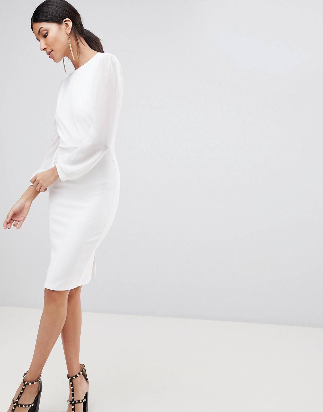 Open Back Bodycon Dress With Split Sleeve Detail - White John Zack Tall Sale Cheap Clearance With Credit Card sZQF6hP
