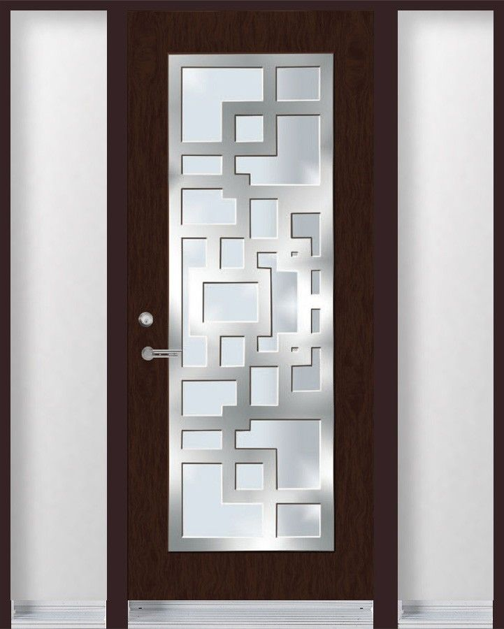 Single entry door with stainless steel frame on top of for Residential main door design