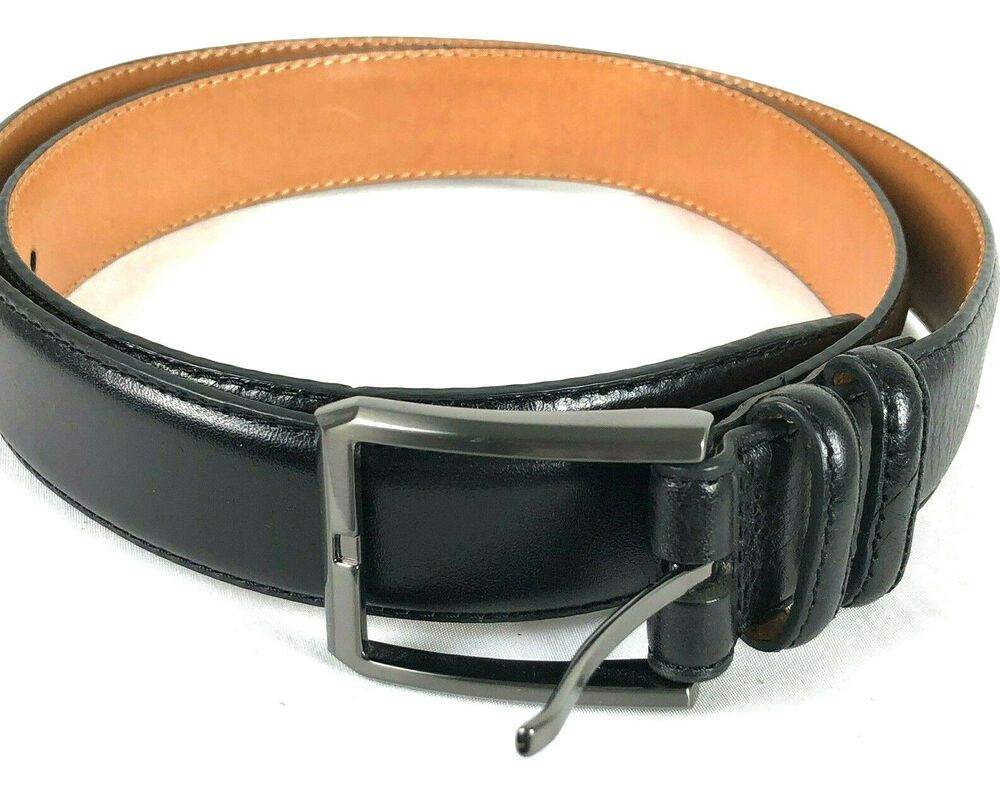 2664b8f6600 Kirkland Signature Men's Black Belt Italian Full Grain Leather Pants ...