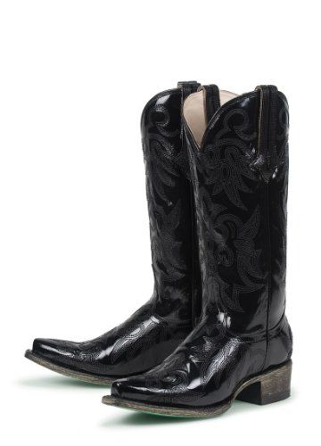 Nice Lane Boots Wild Ginger in Black Patent Leather Fashion Cowgirl Boots