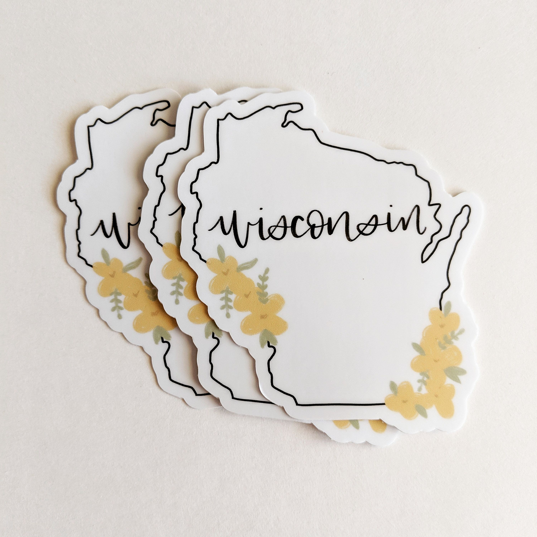 Vinyl Sticker // Wisconsin state // water bottle sticker