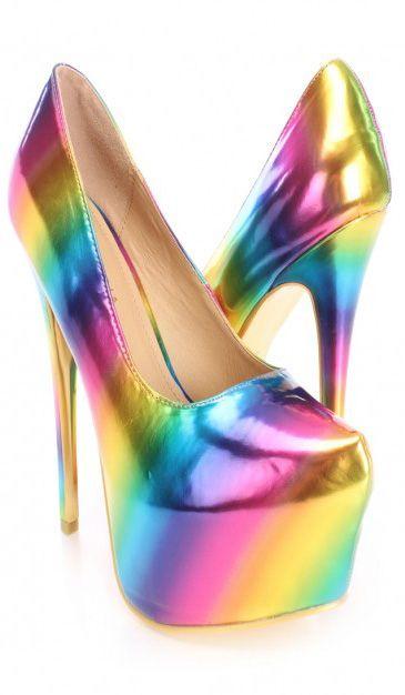 3c0aeb344d71 Multi Rainbow Gradient Pump High Heels Faux Leather Sexy High Heels, High Heel  Pumps,