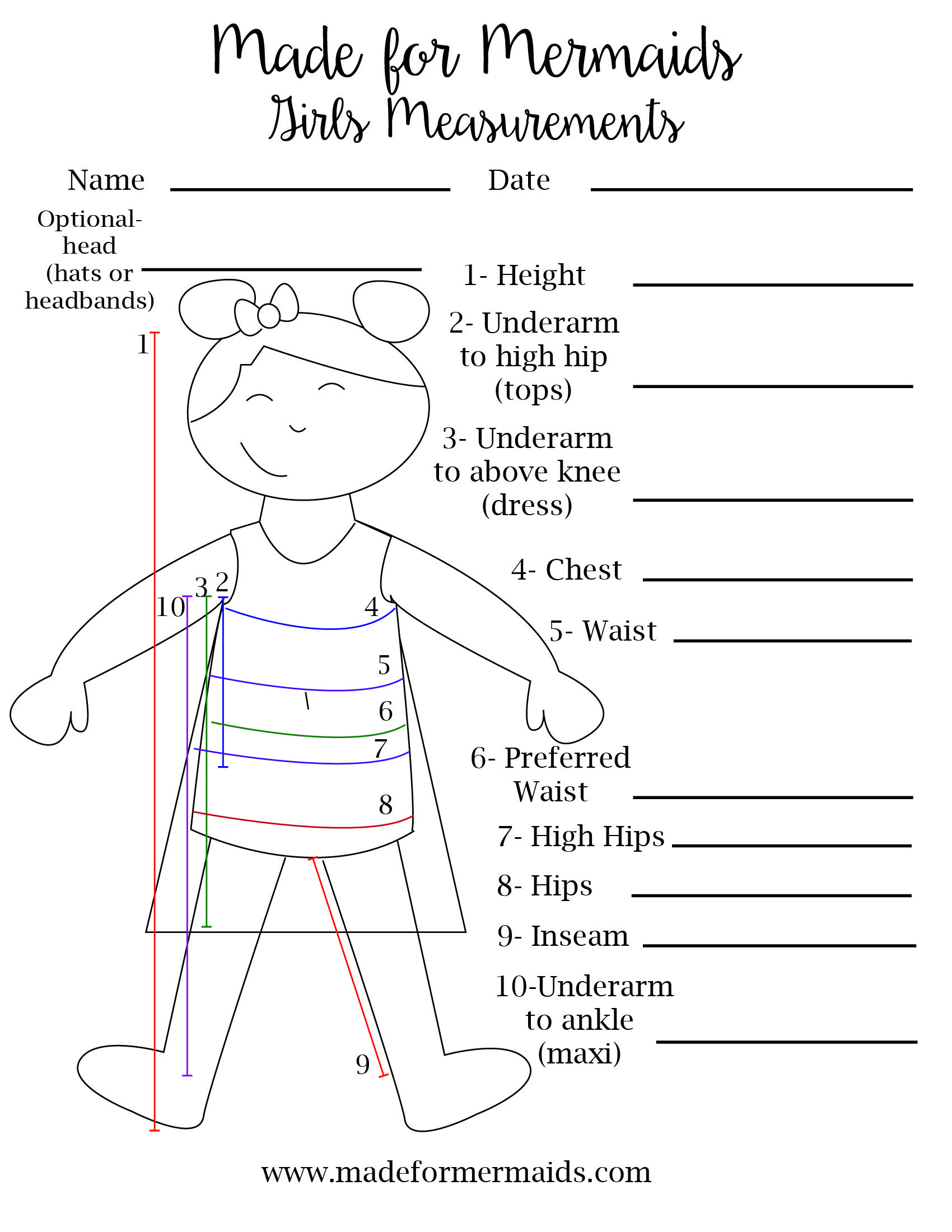 Free Printable Blank Measurement Chart For Boys Girls
