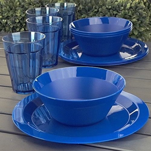 Plastic Dinnerware Set 12 Piece Disposable Plates Bowls Tumblers Outdoor Durable Plasticdinnerware