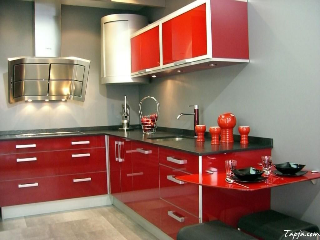 Delightful Decoration Modern Minimalist Kitchen With Red Glossy Kitchen  Cabinet Lighting Underneath Also Black Granite Countertop Backsplash And Red  Table ...