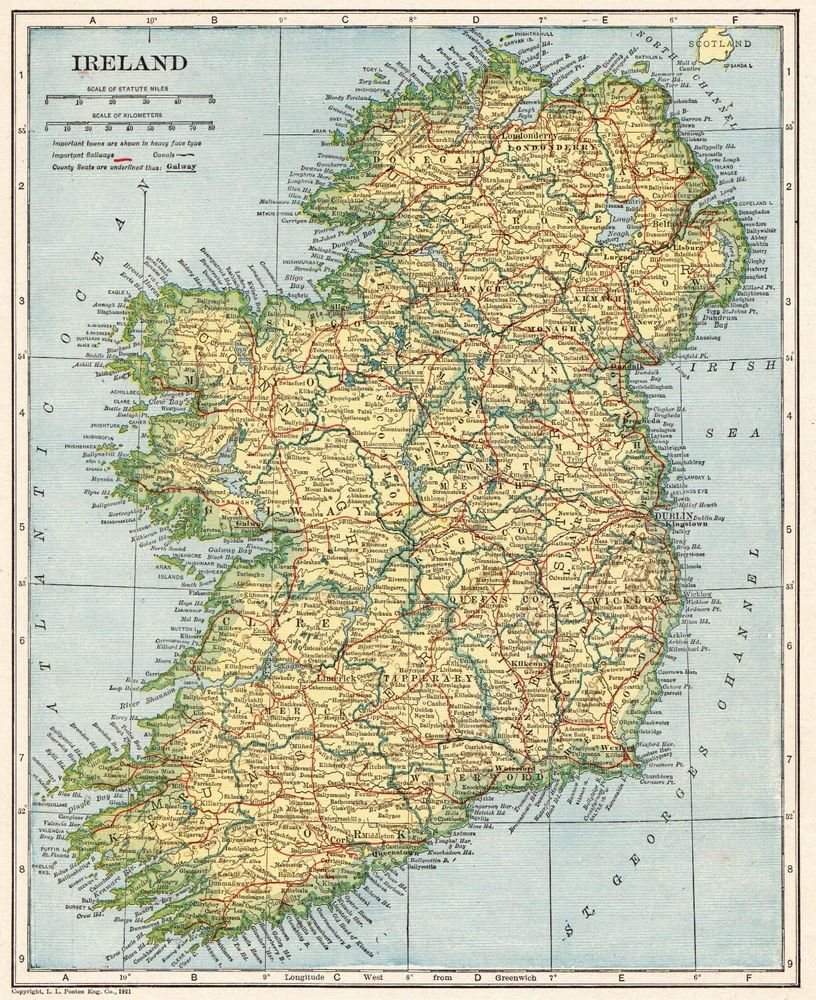 1922 Antique IRELAND Map Original Vintage Map of Ireland Gallery ...