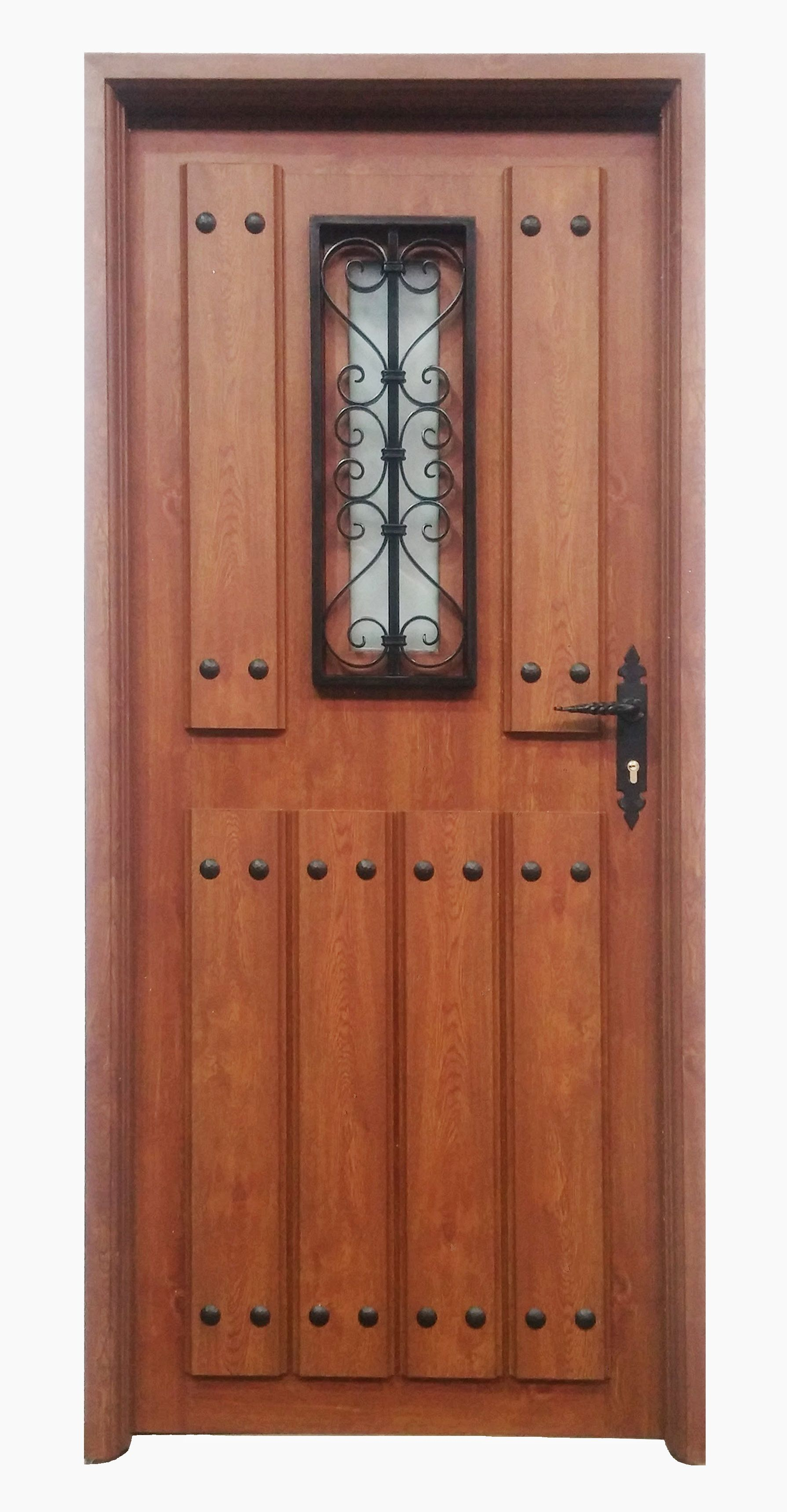 Puerta rustica aragon ventana en color embero puertas for Puerta madera rustica