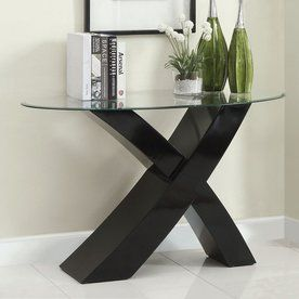Furniture Of America Xtres Black Half Round Console And Sofa Table