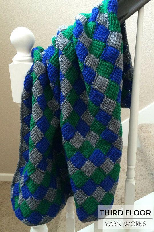Baby Blanket, Afghan, Lapghan, Playmat - Navy, Green, Heather Grey ...