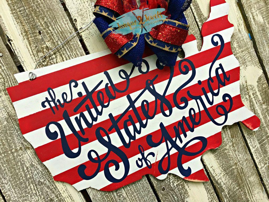 United States Of America Door Hanger Patriotic Door Sign