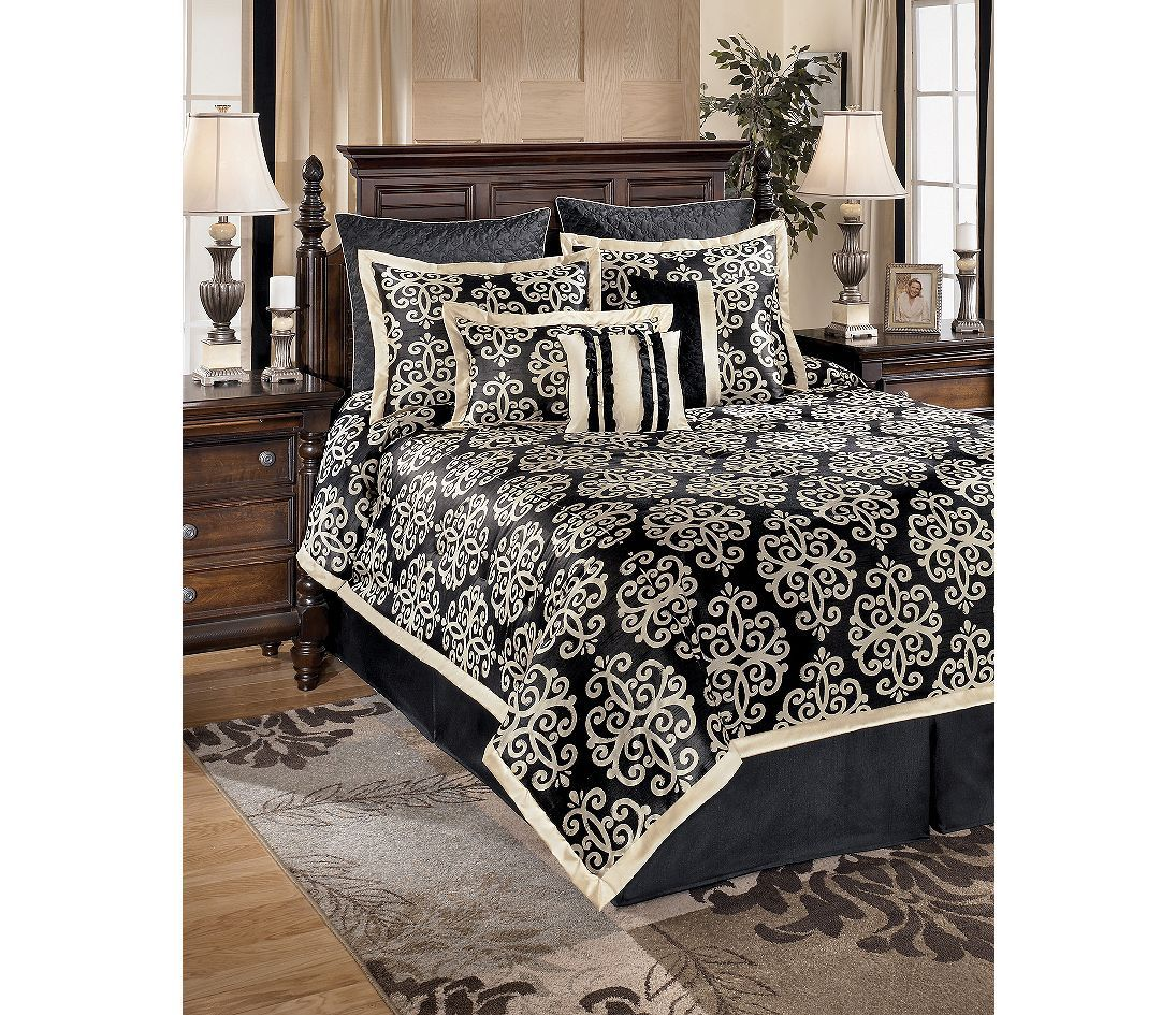 My New Bed Set Signature Design By Ashley Mila Onyx Bedding Ensemble Bed Linens Luxury California King Bedding Sets King Bedding Sets