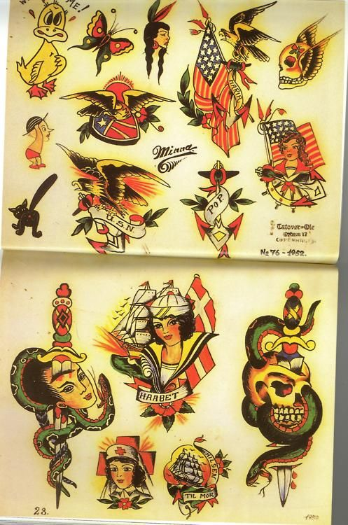 Traditional flash by ole hansen copenhagen denmark 1952 for Tattoo ole copenhagen