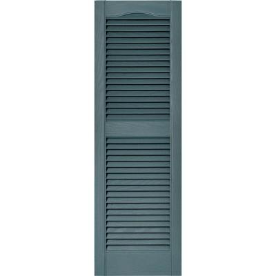 Builders Edge 15 In X 48 In Louvered Vinyl Exterior Shutters Pair In 004 Wedgewood Blue 010140048004 White Shutters Shutters Louvered Shutters