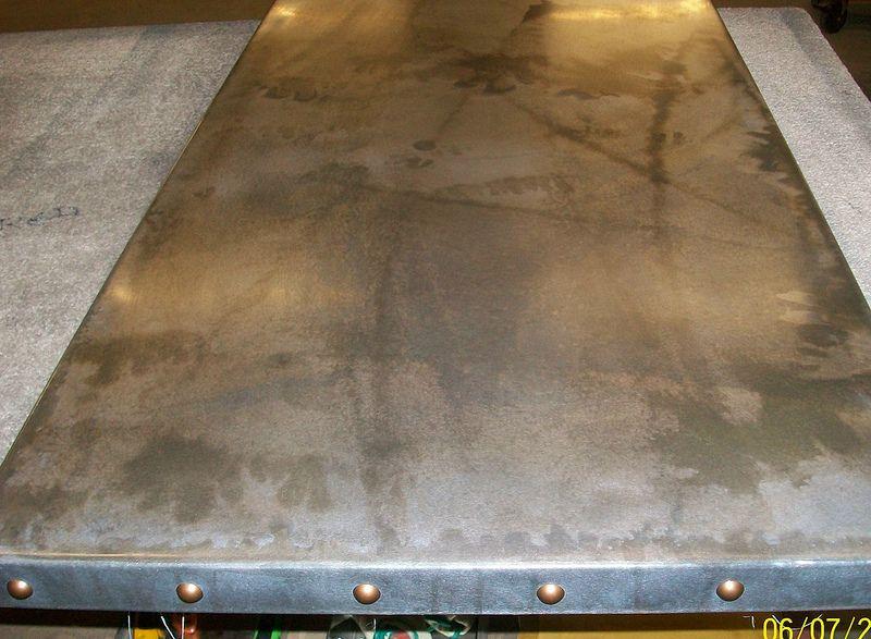 7 Light Patina Zinc Table Top With Feature Bronze Studs 2 Zinc