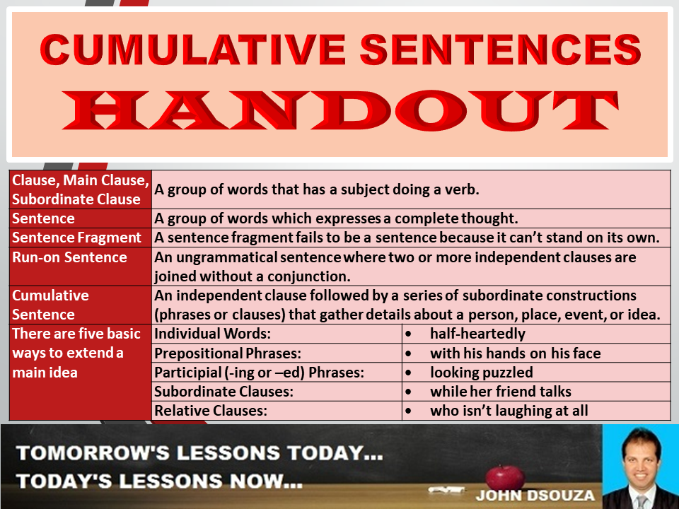 cumulative sentences handout