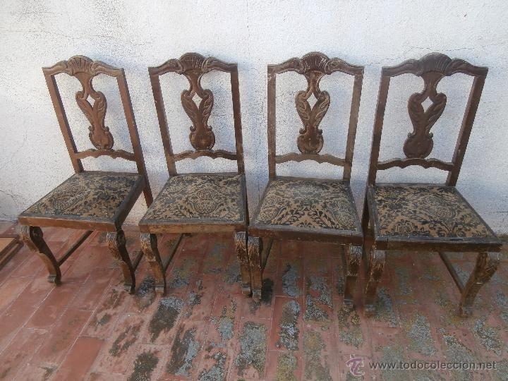 4 antiguas sillas de madera tapizadas para restaurar antig edades muebles antiguos sillas - Compraventa muebles antiguos ...