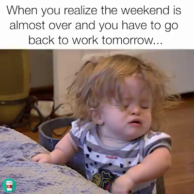 The Weekend Is Over Video Funny Memes About Work Work Memes Funny Memes