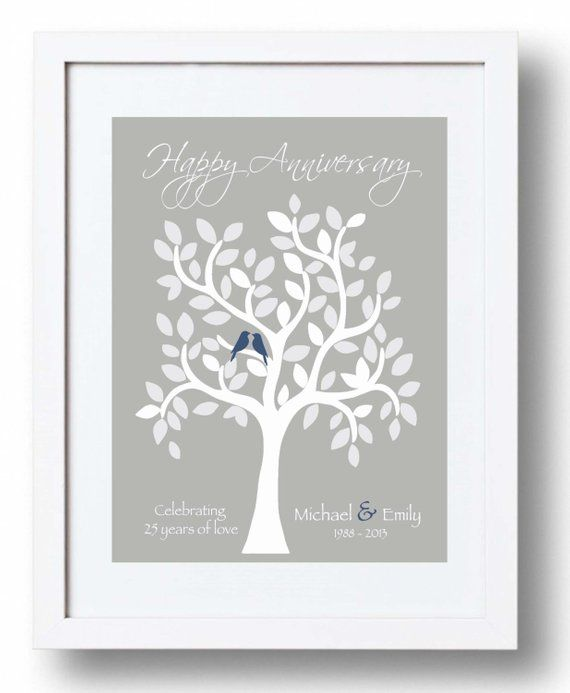 25th Anniversary Gift For Parents 25th Silver Anniversary Print