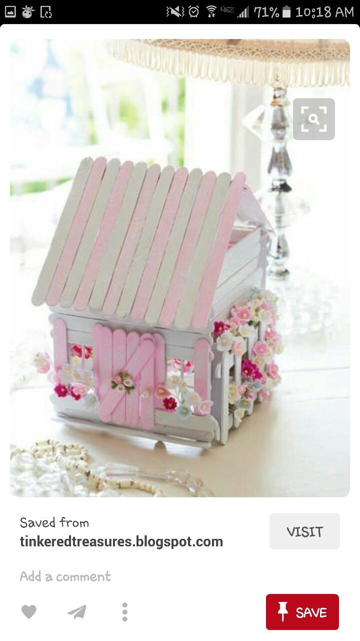 Popsicle stick sweet shabby chic house | Myyy | Miniature fairy