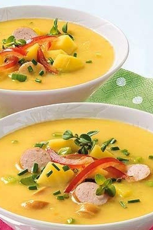 Photo of Spicy mustard and potato soup with sausages