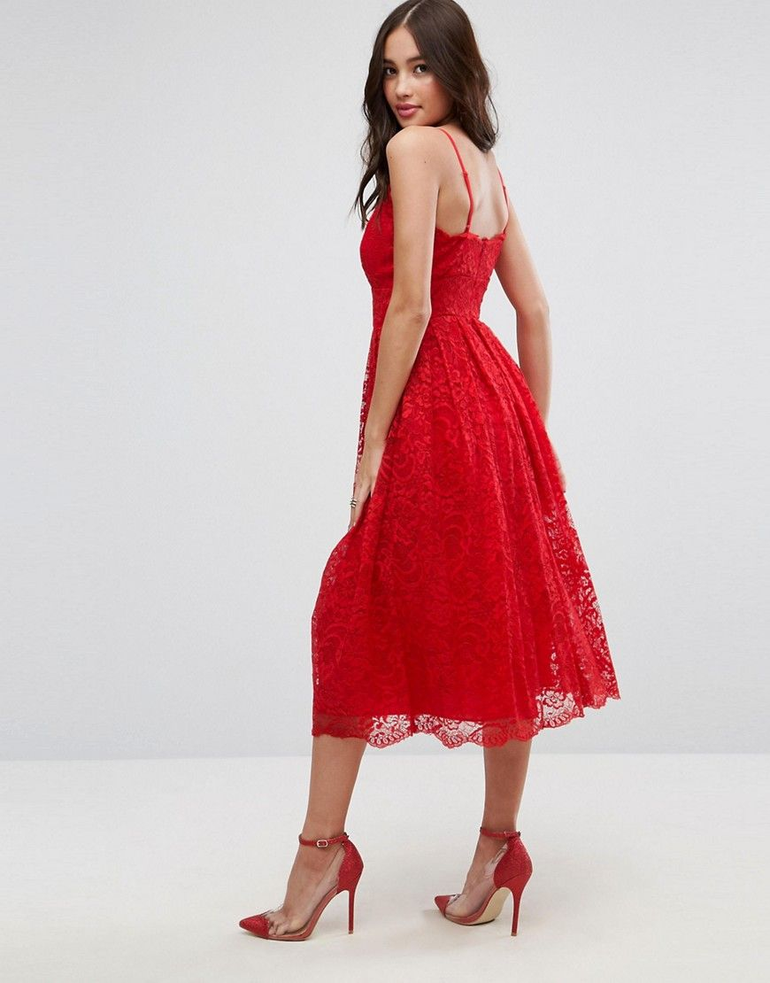 e471f553c1951 ASOS Lace Cami Midi Prom Dress - Red | Shop the look products | Asos ...