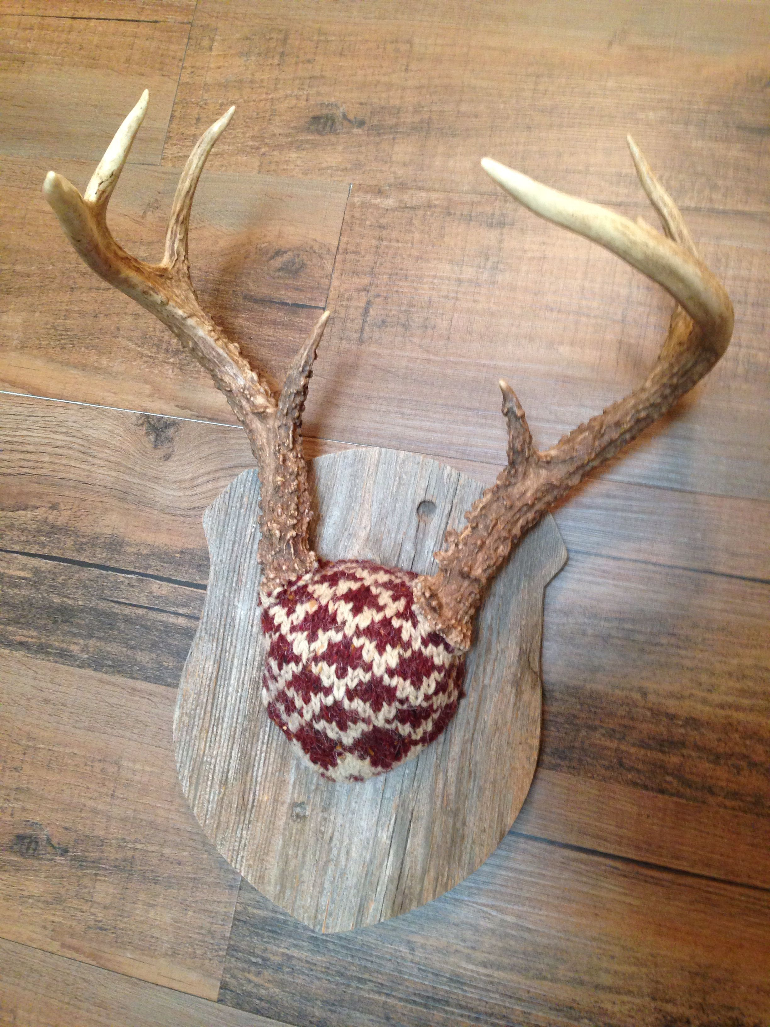 Deer Horn Mount Covered In Dad S Old Sweater Mounted On Reclaimed Wood Plaque Skull Crafts Deer Horns Antlers Decor
