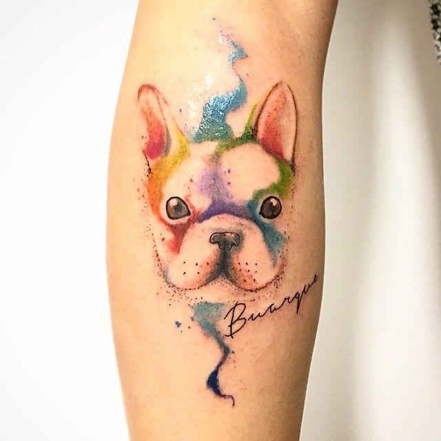 Por Junior Bulldog Frances Bulldog Dog Tatuagem Art