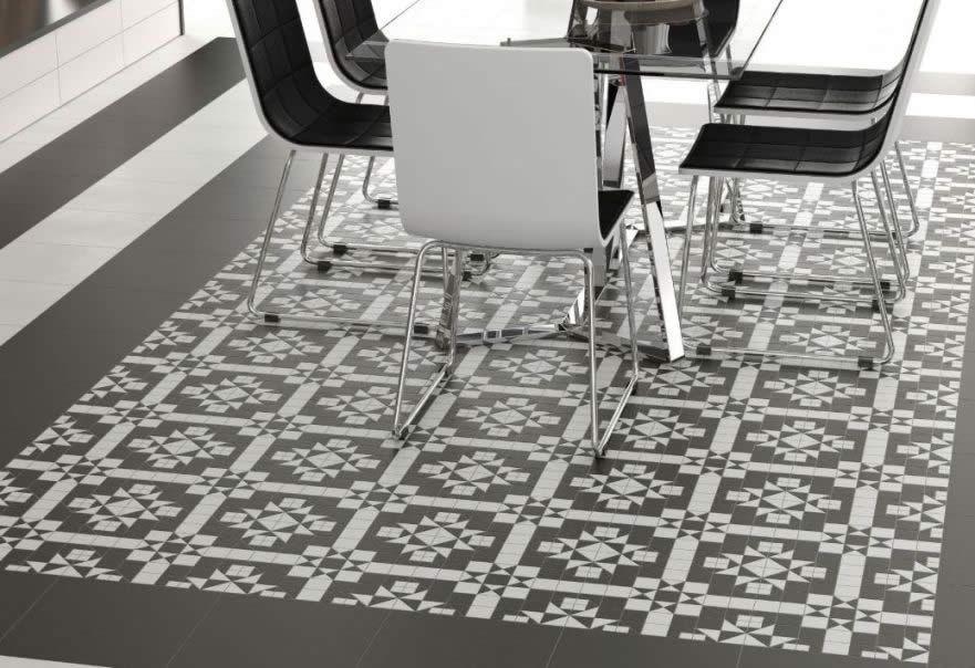 Black White Tiles Mosaic Floor Tile Look Replica Spanish