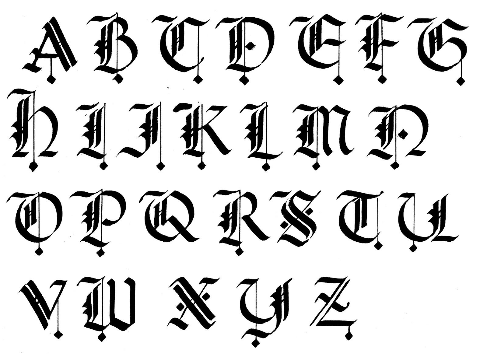 Calligraphy alphabet for beginners gothic