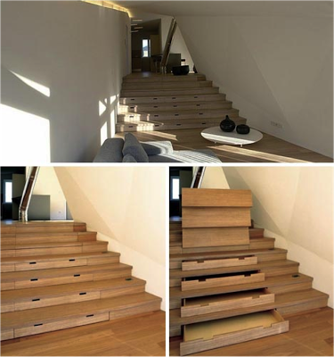 A now fairly common use of stairs in tight spaces.... very good use of space