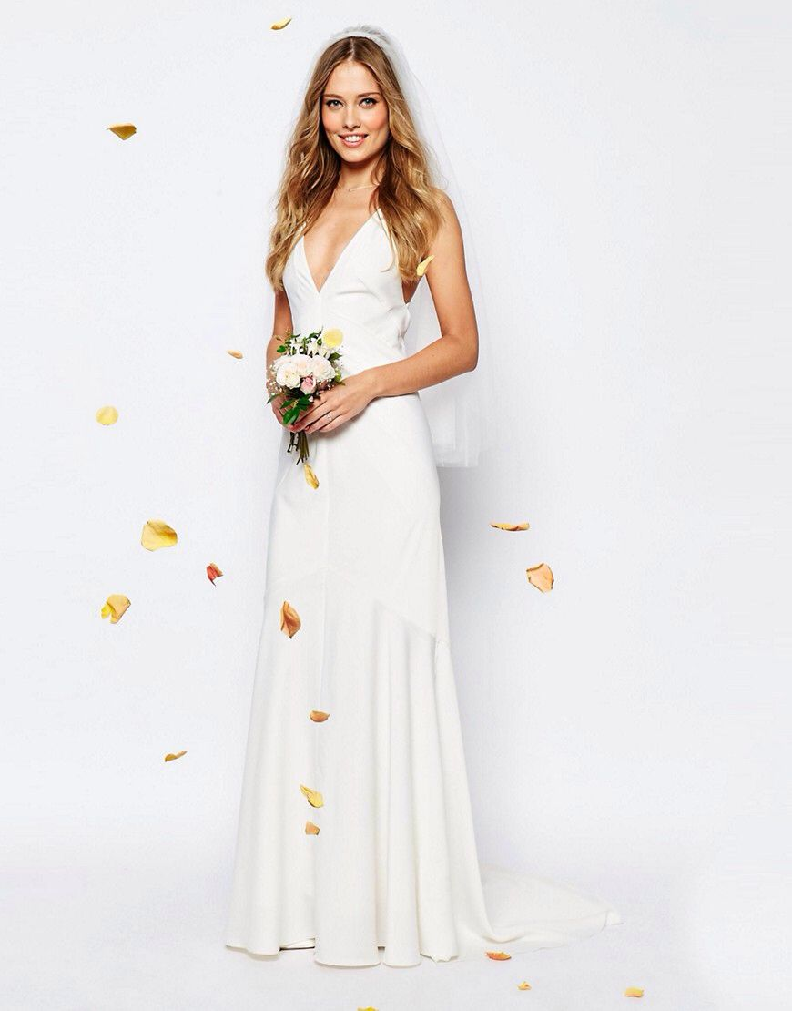 Asos bridal deep plunge strappy fishtail maxi dress wedding
