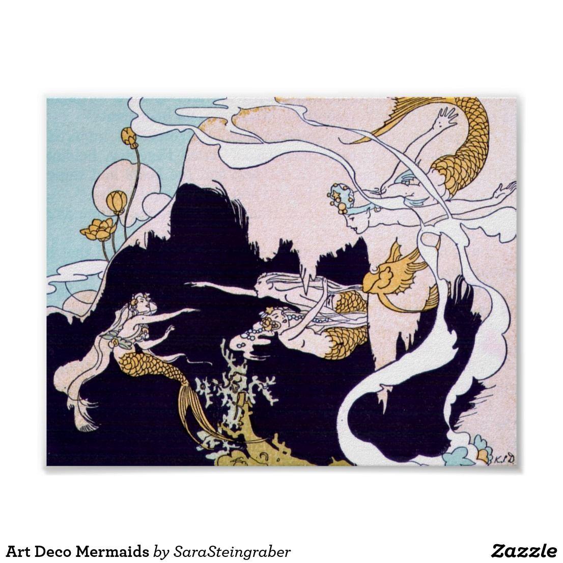 Art deco mermaids poster mermaid poster