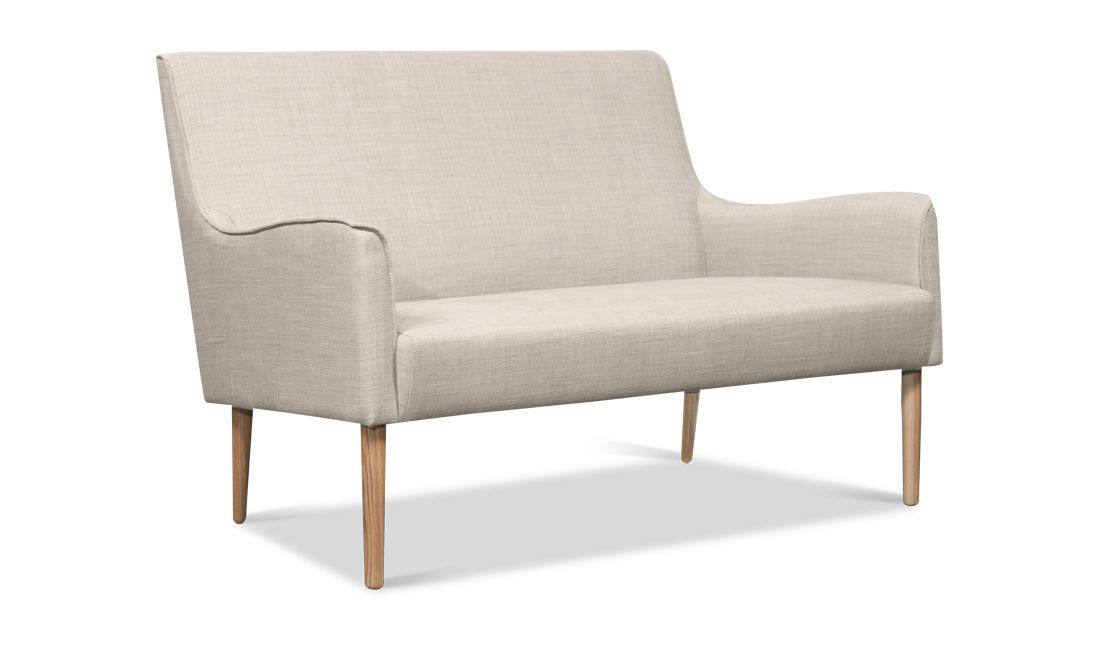 For the bedroom, by the window, with a floor lamp and stack of books // Brent 2 Seat Sofa - FASHION FOR HOME