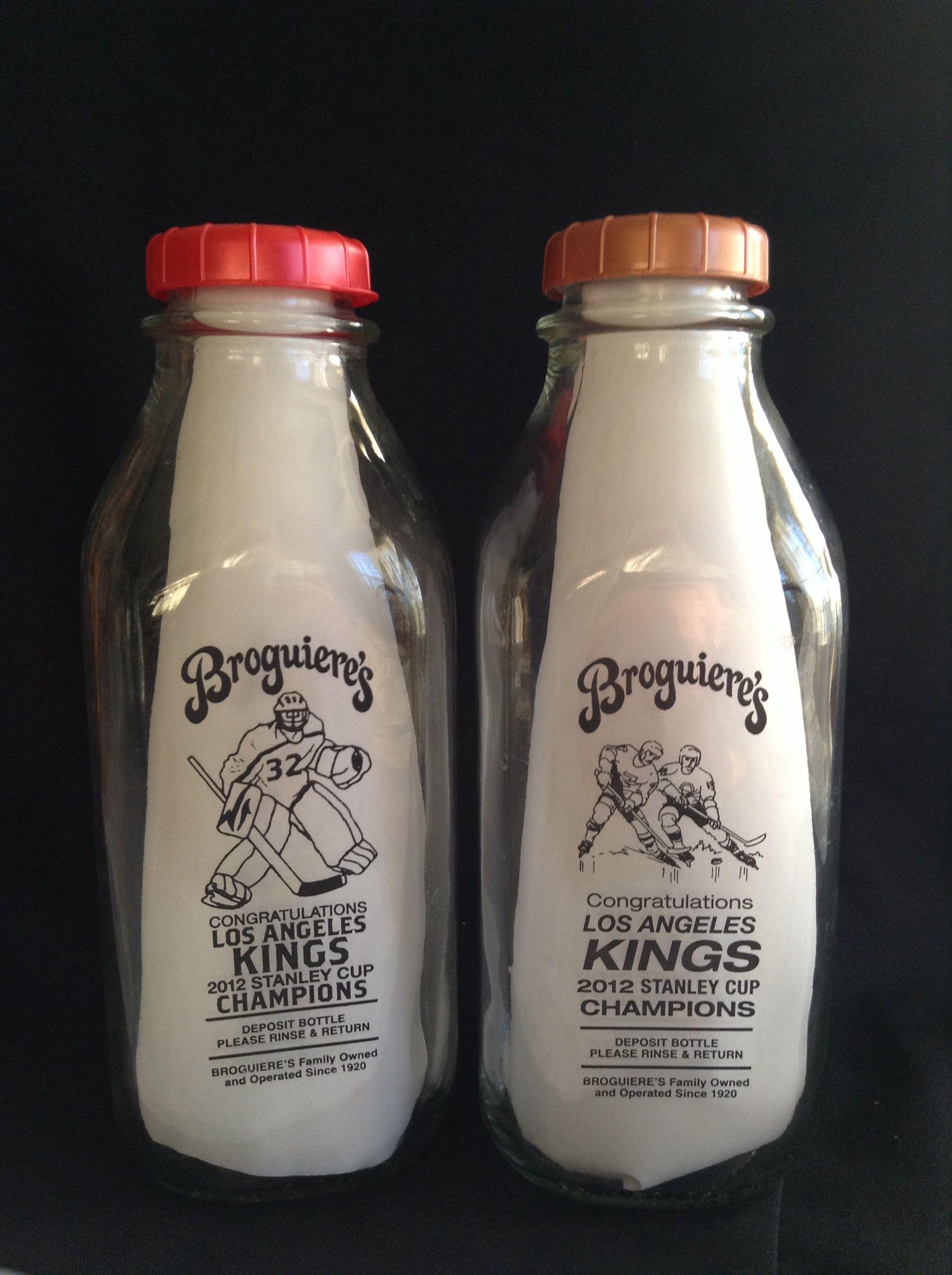 Broguiere S Commemorative Los Angeles Kings Stanley Cup Champions Glass Milk Bottles Not Autograph Glass Milk Bottles Stanley Cup Champions Los Angeles Kings