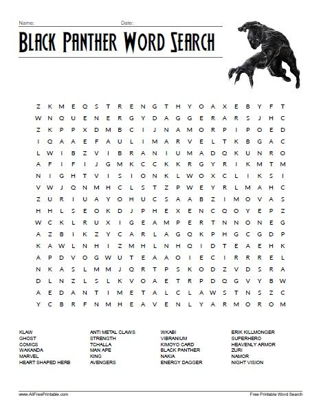 free printable black panther word search all free printable pinterest black panther word. Black Bedroom Furniture Sets. Home Design Ideas