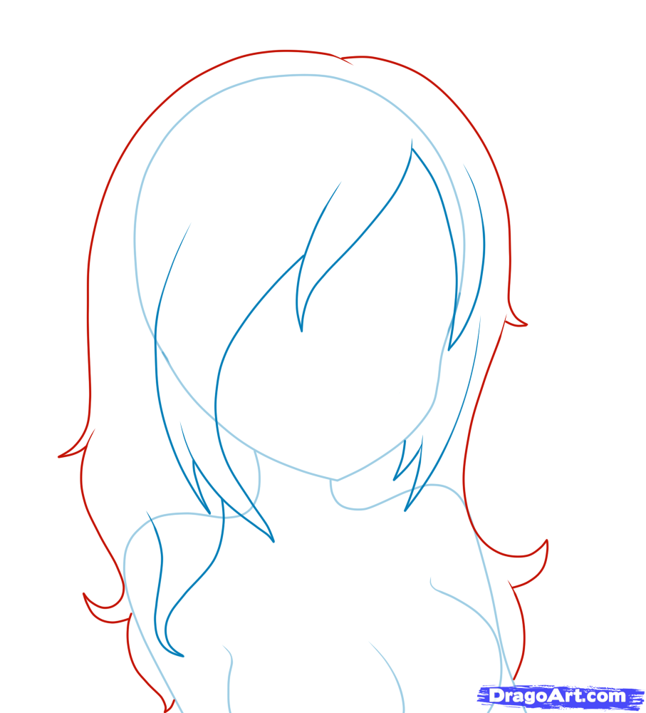 How To Draw Female Chibi  How To Draw Girl Hair, Step By Step,