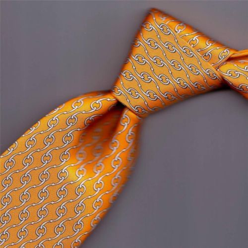 22d8799dbabb THE ONE TO OWN HERMES TIE 5294 WHITE HORSE RINGS BITS ON YELLOW ORANGE 3.6  X 60