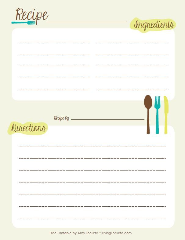 free printable recipe templates - Klisethegreaterchurch