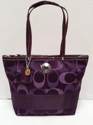Authentic Coach Signature Purple Handbag. Starting at  1 on Tophatter.com! 3c5e5f479cc77