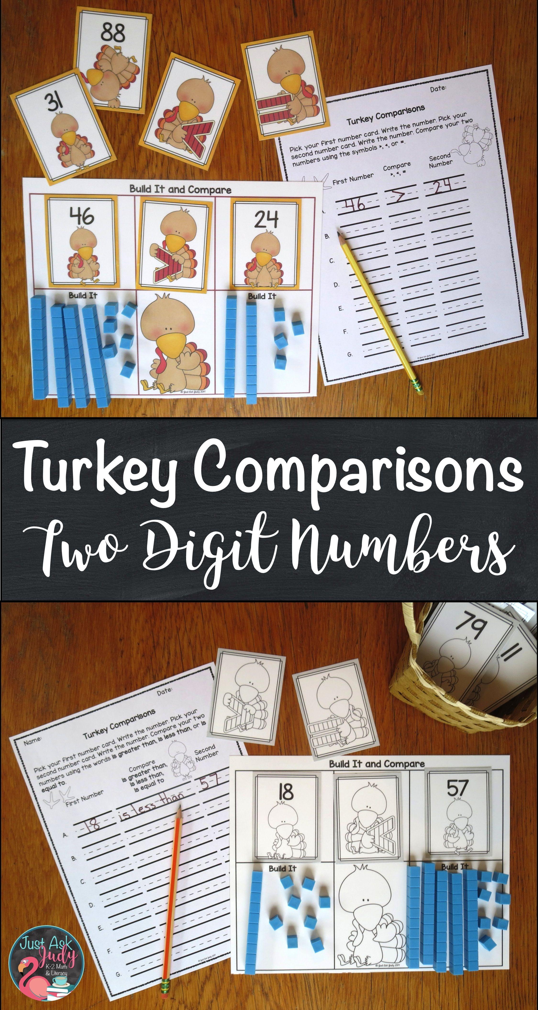 Comparing Numbers Two Digit Turkeys | Base ten blocks, Math ...