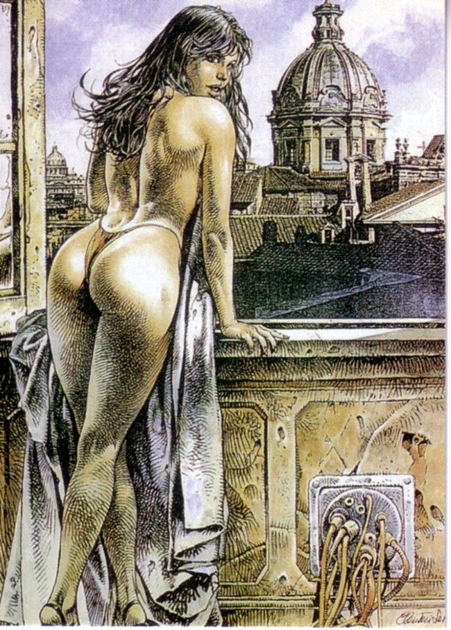 Paolo Eleuteri Serpieri-   Best known for his graphic novel vixen Druuna. I have always marveled at is scratchy line work. How can he use so many cross-hatch lines and still make a sexy feminine body. It's a wonder.