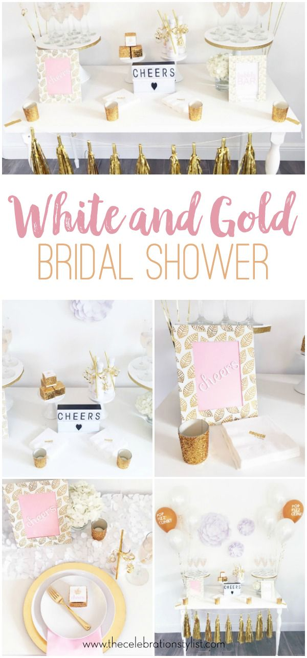 White And Gold Bridal Shower Gold Bridal Showers Bridal Shower
