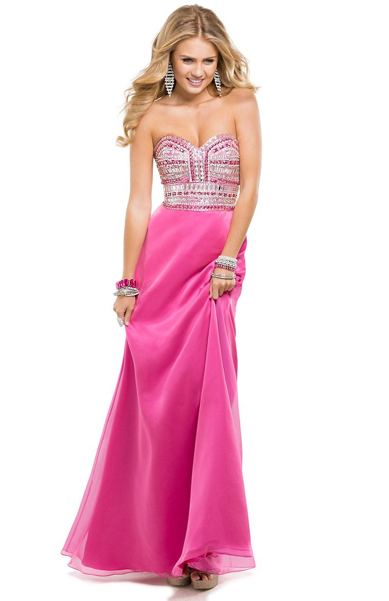 Sheath Dress with Sparkling Rhinestones Bodice & Chiffon Skirt ...