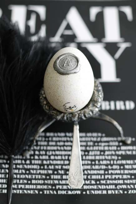 Modern Easter Egg w/silver stamped wax seal