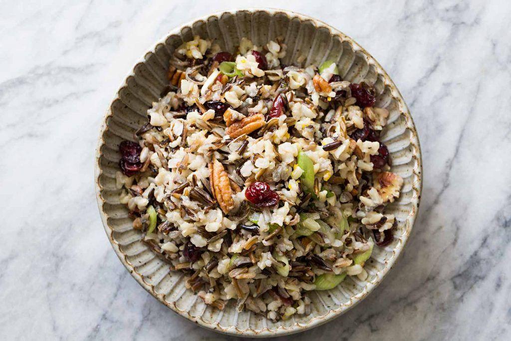 Wild Rice Salad with Cranberries and Pecans Recipe | SimplyRecipes.com