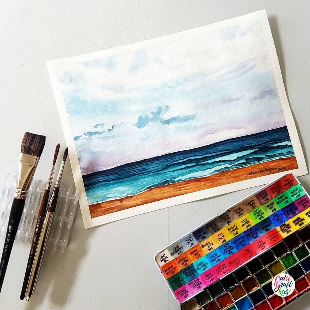 Finished painting of that clip I posted yesterday #dreweuropeo #calligrafikas #grafikas #watercolor #painting #calligrafikaswatercolors Paper: Fabriano Aquarello 300gsm Brush: Escoda Ultimo flat wash 1