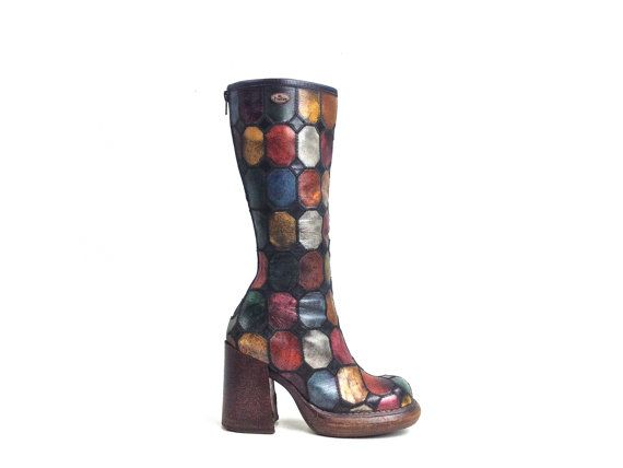 90's Rainbow Patchwork Chunky Leather Knee Boots // 6.5 - 7, EL DANTES by FeelingVagueVintage