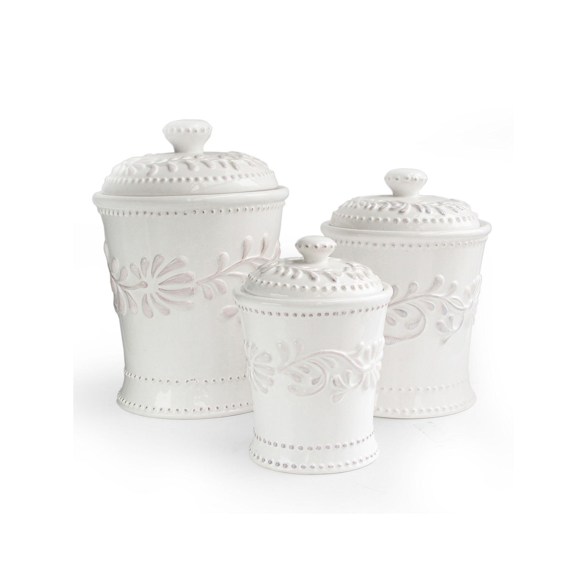 Atelier Bianca Leaf 3-pc. Kitchen Canister Set, White