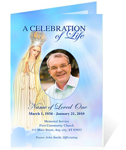 Any Occasion Funeral Memorial Program Template  Spiritual Blessed